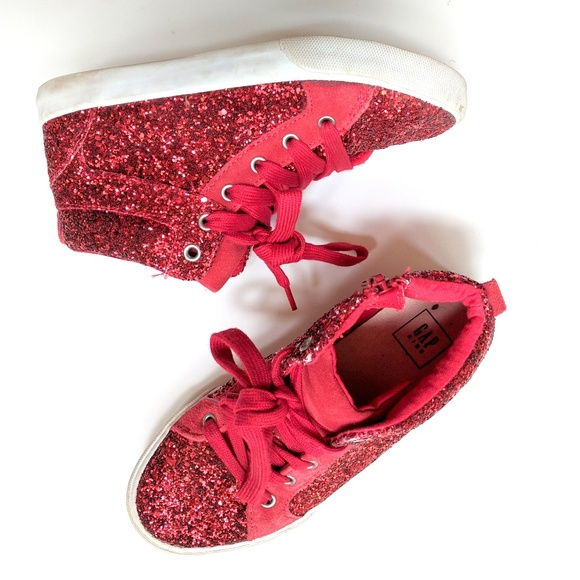 4232c3786ec9 GAP Shoes   Kids Girls Ruby Red Sparkle Glitter Hi Tops 3   Poshmark